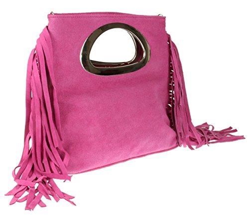 Girly Handbags - Cartera de mano de Material Sintético para mujer fucsia