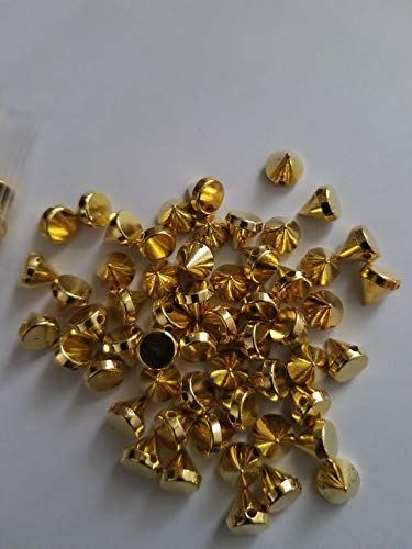 CraftbuddyUS 100pcs Acrylic 8mm Gold Spike Studs Sew On, Stitch On, Stick on Embellishments (Gold Stud Embellishment)