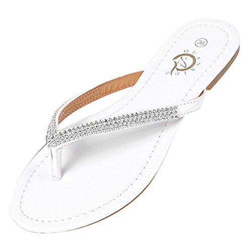 LvRao Mujer Sandalia Plano Chanclas cómodos Verano Zapatillas de Playa Blanco #1