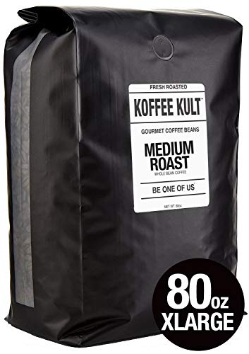 Koffee Kult - Medium Roast Coffee Beans - 100% Gourmet Arabica Coffee Small Batch Artisan Roasted, Whole Bean, 80oz Packaging May Vary
