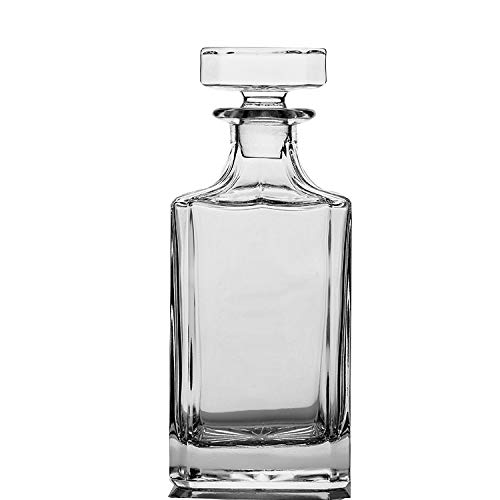 QUEEN&STONE Square 26oz Crystal Whiskey Decanter with Glass Stopper-Lead -