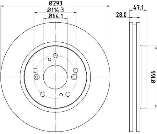 Oberfl/äche beschichtet Set aus 2 Bremsscheiben Vorderachse HELLA PAGID 8DD 355 129-061 Bremsscheibe PRO High Carbon