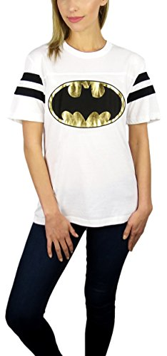 DC Comics Womens Batman Gold Logo Varsity Football Tee (White, Medium) ()