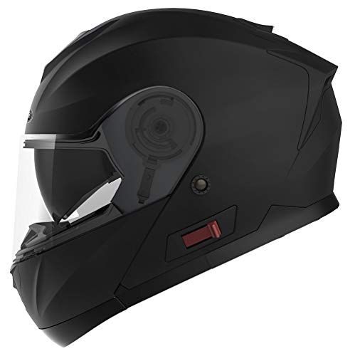 Motorcycle Modular Full Face Helmet DOT Approved - YEMA YM-926 Motorbike Moped Street Bike Racing Crash Helmet with Sun Visor for Adult, Men and Women - Matte Black,Medium