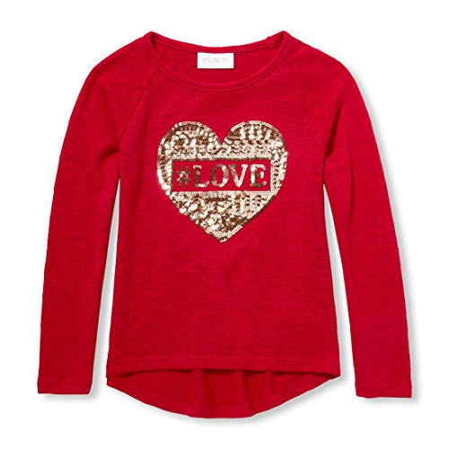 The Children's Place Girls' Big Long Sleeve Graphic Tops, Ruby XXL(16) -