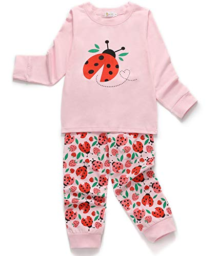 (DHASIUE Ladybug Kid & Toddler Girls 2 Piece 100% Cotton Pajamas Autumn Winter Clothes Children Sleepwear 5T (5-6)
