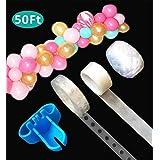 Balloon Decorating Strip Tape 50Ft for Arch Garland Streamer,1pcs Balloon Tying Tool,100 Dot Glue,32Ft Ribbon(50FT)