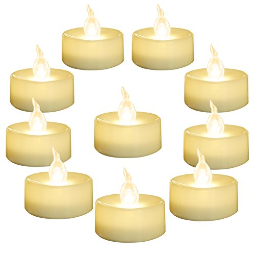 Homemory 24 Pack Warm White Battery LED Tea Lights, Flameless Flickering Tealight Candle, Dia 1.4'' Electric Fake Candle for Votive, Wedding, Party, Table, Dining Room, Gift]()