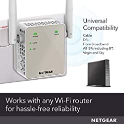 NETGEAR Wifi Range Extender EX6120 – Coverage up to 1200 sq.ft. and 20 devices with AC1200 Dual Band Wireless Signal Booster/Repeater (up to 1200 Mbps) and Compact Wall Plug Design with UK Plug