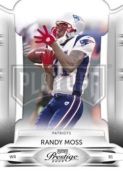 (Randy Moss - New England Patriots - 2009 Playoff Prestige NFL Football Card In Protective Screwdown Case)
