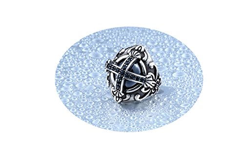 Beydodo Stainless Steel Punk Ring Men Cubic Zirconia Cross Black Stone Ring Size 10 Gothic Rings Knuckle (Lord Of The Rings Fire Pit Ring)