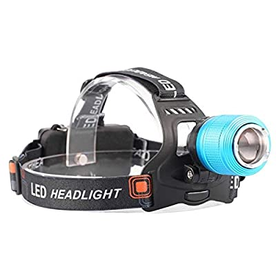 Cacys-Store - LED Headlamp 3800LM Headlight CREE T6 18650 Head Lights Zoomable Tactical 18650 Battery Outdoor Waterproof