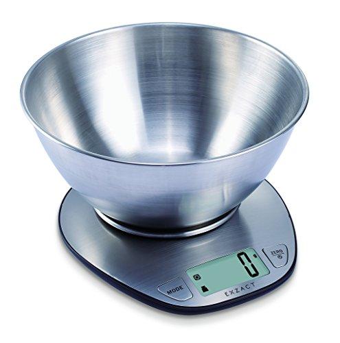 Exzact elektronische Küchenwaage Premium-Großanzeige mit Edelstahl-Rührschüssel
