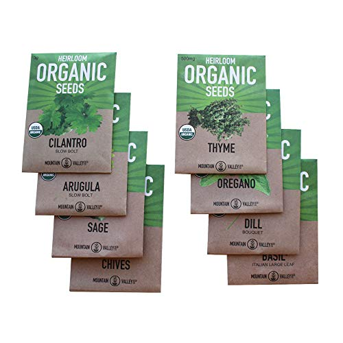 8 Herb Seeds Variety Pack of Non-GMO Organic Garden Plant Seeds - Assortment of Heirloom Herb Seeds and Hydroponic Seeds featuring Arugula, Basil, Chives, Cilantro, Dill, Oregano, Sage, and Thyme