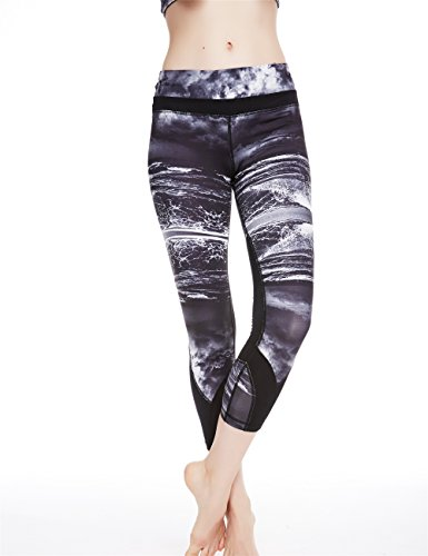 Icyzone Women's Activewear Workout Capri Stretch Printed Sports Running Yoga Tights Legging with Mesh (M, Clouds Sea)