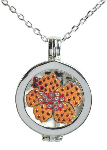 Live Love Life Silver Necklace with Hibiscus Orange Micro Pave Crystal Charm by Navika