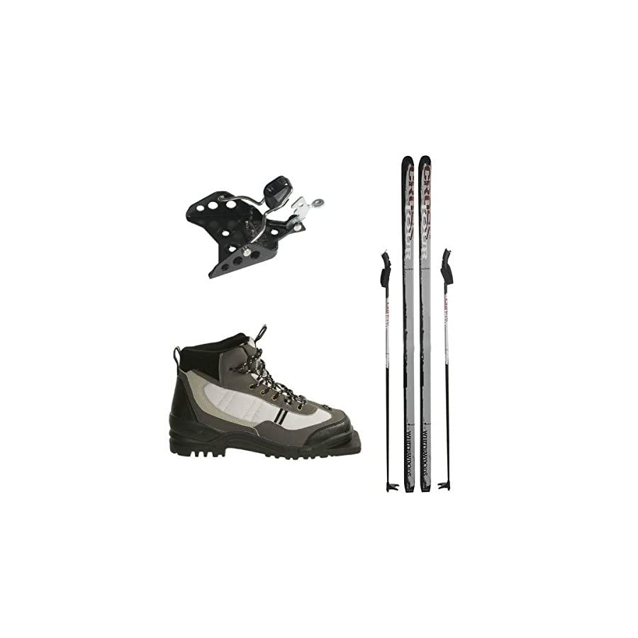 Whitewoods 75mm 3Pin Cross Country Ski Package; Boots, Bindings, Poles, Skis 157cm (for skiers 90 120 lbs.)