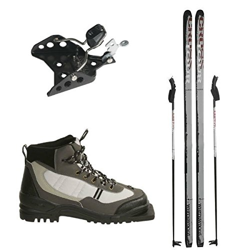 New Whitewoods 75mm 3Pin Cross Country Package Skis Boots Bindings Poles 157cm (40, 90-120lbs.) by Whitewoods