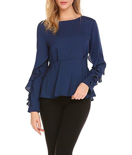 Chiffon Flounce - Zeagoo Women's Flounce Long Sleeve Chiffon Blouses Peplum Tops Shirts