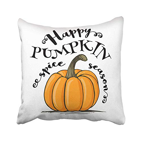 FJPT Throw Pillow Cover Orange Halloween Happy Pumpkin Spice Season Lettering Sketch Style White Traditional Autumn Slogan Crop Cotton Pillowslip for Sofa Bed Stand Size Pillowcase 16x16 Inch ()