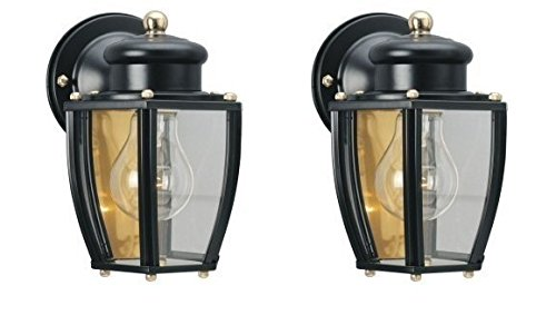 Ciata Decor 6696100 One-Light Exterior Wall Lantern, Matte Black Finish on Steel with Clear Curved Glass Panels – 2 Pack