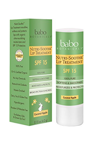 Babo Botanicals Nutri-Soothe Natural Lip Treatment Balm SPF 15 Sunscreen, 0.15 Ounce; Smoothes and Softens; Moisturizes and Protects with Organic Ingredients; Coconut Apple Flavor