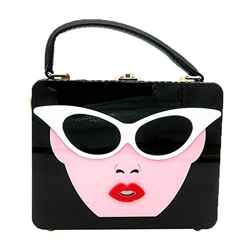 ETH Ladies Acrylic Square Character Glasses Styling Panel Banquet Party Bag Imitation Belt Shoulder Messenger Bag Wedding Banquet Holiday Pack Evening Bags for Women Durable (Color : Black) (Mk Bags Imitation)