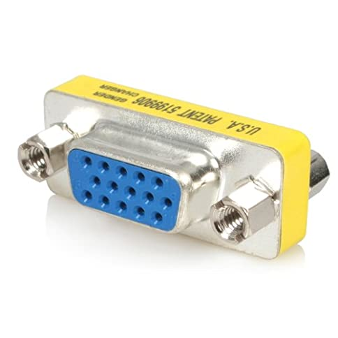 - 41TxxTou9iL - Slimline VGA HD15 Gender Changer – F/F – HD15 gender changer – VGA coupler – VGA gender changer