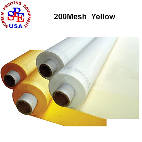 1 Roll(40yards)Screen Printing Mesh Fabric 50Inches(1.27m) Width Silk Screen Printing (200mesh Yellow) by Screen Printing Consumables