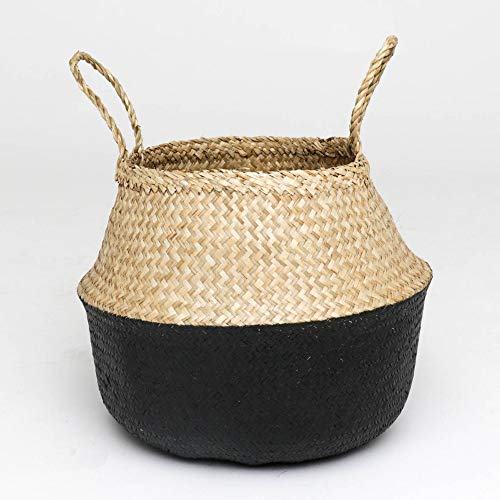 MitoVilla Collapsible Seagrass Storage Basket for Throw Blanket, Laundry Hamper, Rustic Black 12 Inch Planter Pot, Large Tote Basket with Braided Handles for Living Room & Bedroom, Balcony & Garden (Wicker Traditional Planter)