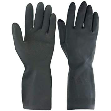 SAFEYURA� House Hold Cleaning Rubber Hand Gloves, Kitchen,Washing Toilet Cleaning,Garden (1 Pair)