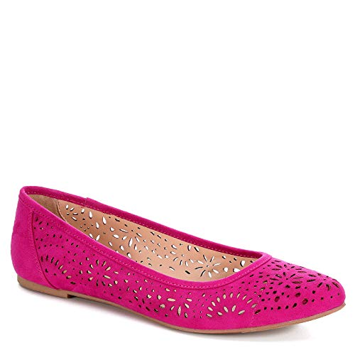 XAPPEAL Womens Adilene Perforated Slip On Flat Shoes, Fuschia, US 5 ()