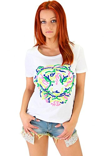 Angesagtes Shirt mit Tiger Flockdruck Cream
