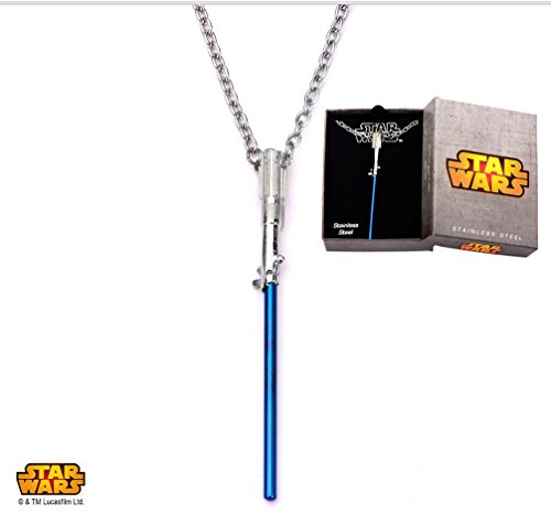 Star Wars Womens Stainless Steel Blue Titanium Plated Lightsaber Necklace (Earrings Wars Star Lightsaber)