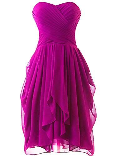 (Girls Short Strapless Bridesmaid Dress Wedding Party Prom Gowns Fuchsia US20W)