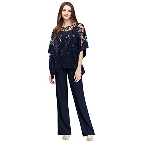 Sequin Lace Pantsuit with Sheer Poncho Style 2288, Navy, 18