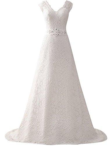 Elfenbein Damen Brautkleid Lang mit Spitze Linie Gürtel A V Ausschnitt Kleid Hochzeitskleider OPECqwg