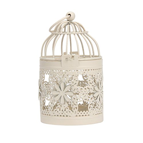 (Chenway Bird Cage Candle Holder,Hollow-Out Design Iron Pillar Candlestick with Hook - Functional Table Decorations- Centerpieces for Dining/Living Room )