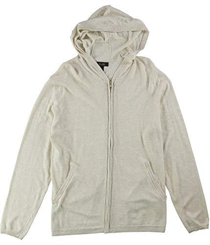 Tasso Elba Island Linen Blend Zip-Front Lightweight Hooded Jacket (Safari Combo, Medium)