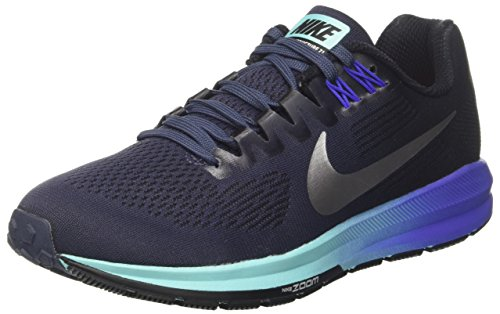 Nike Women's Air Zoom Structure 21 Running Shoe Thunder Bluemetallic Silverblack Size 7 M Us