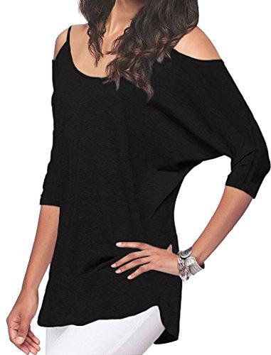 Off Shoulder Dolman Top (Halife Womans Off Shoulder 3/4 Sleeve Tunic Tops Loose Basic Shirt Plus Black XL)