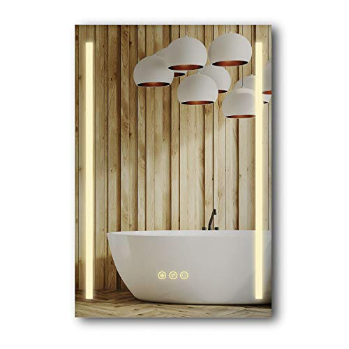 B C Danube Super Slim Bathroom Mirror 24 x36 Vertical LED Backlit Polished Edge Frameless Defogger Dimmer Touch Switch Copper Free Silver Backed MD022436