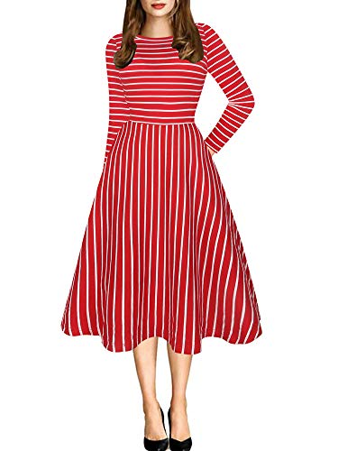 oxiuly Women's Classic Stripe Round Neck Casual Pockets Long Sleeve Party Cocktail Soft Cotton A-Line Dress OX262 (L, Red Stripe 9)