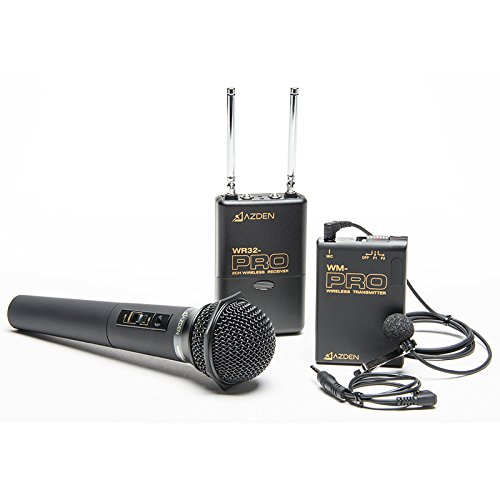 Azden WDM-PRO 2-Channel VHF Wireless Mic System, WR32-PRO VHF Receiver, WM-PRO Body-pack Transmitter with EX-503 Lapel Mic, WM/T-PRO Handheld Mic