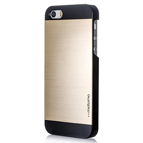 iPhone 5C Case, MOTOMO [Gold] iPhone 5C Case Aluminum [Brushed Aluminum] Metal Cover Protective Case - Verizon, AT&T, Sprint, T-Mobile, International, and Unlocked - Case for iPhone 5C - Retail Packaging - Gold/Black (Aluminum Metal Iphone 5c Case)