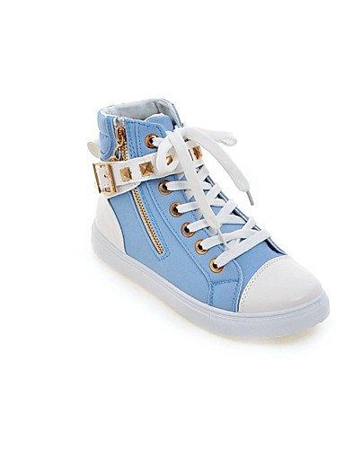 XZZ/ Damen-Stiefel-Lässig-PU-Flacher Absatz-Flache Schuhe-Schwarz / Blau / Rot / Weiß white-us5.5 / eu36 / uk3.5 / cn35