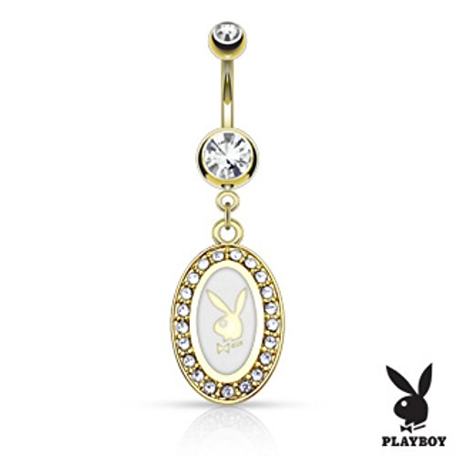 Playboy Bunny Round Frame Gold Plated Navel Ring Freedom Fashion 316L S. Steel ()
