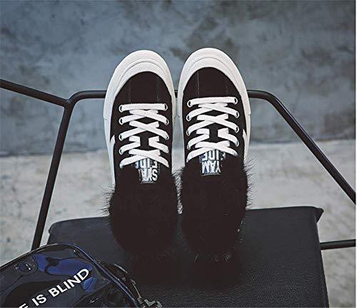 Calda Moda E Di Versione Da Per black Le 38eu Aiutare Peluche Basse Suola Con Donna Coreana Casual Stivaletti Caviglia Scarpe qgXRR