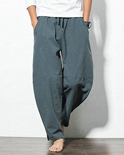 Oneforus Pantalones Gris Harén los Hombres del Cómodos Ocasionales Deportivos Pantalones de Adolescentes de los Algodón Flojo AZwrAqgY