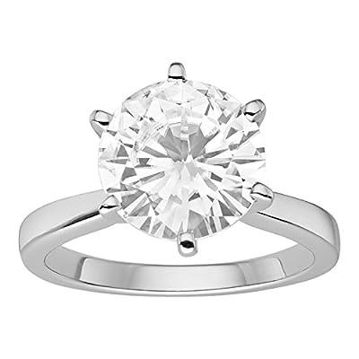 Forever Brilliant White Gold Round 9.5mm Moissanite Engagement Ring, 3.10ct DEW By Charles & Colvard